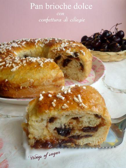 Pan brioche dolce farcito con confettura di ciliegie - ricetta wings of sugar blog