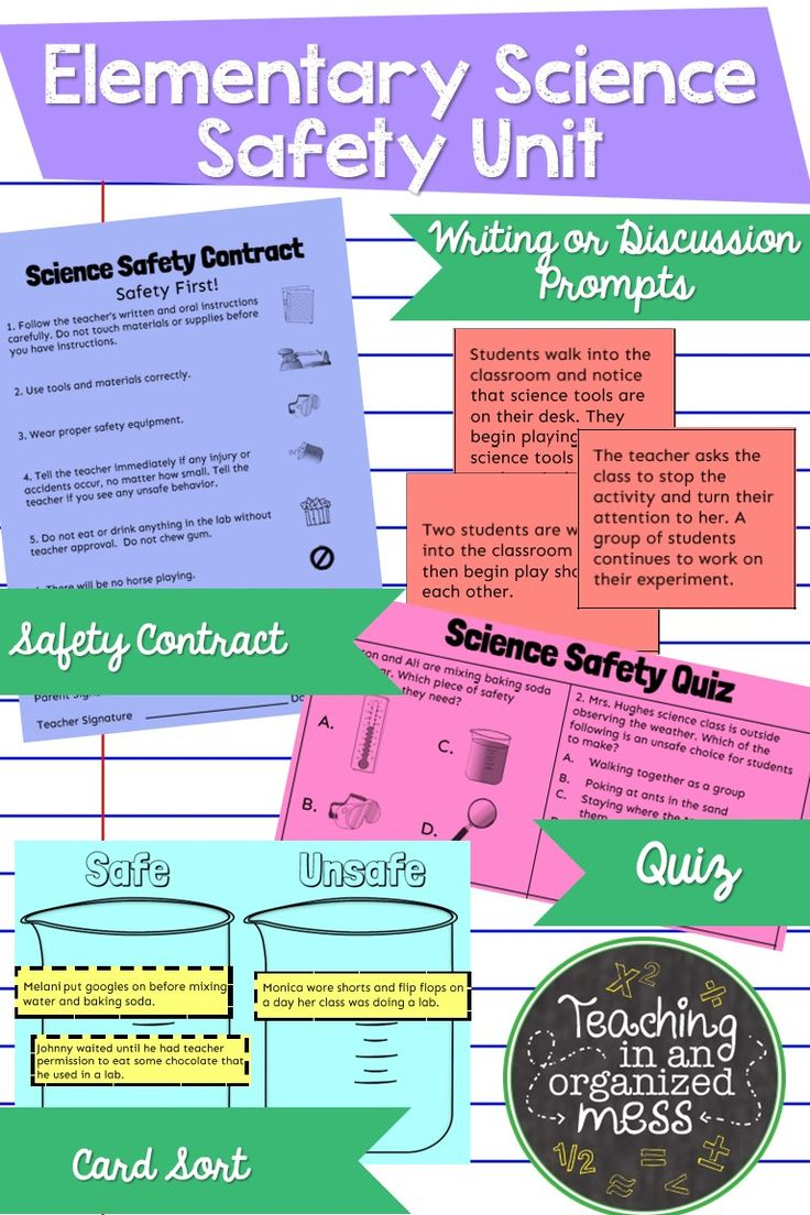 Start your science year off right with these activities to discuss science safety with your classes. These activities can help you introduce group work, writing, exit tickets, and homework to your students while covering classroom expectations and procedures the first weeks of school.  Includes: Safety Contract Exit Ticket/Quiz Card Sort Scenario Cards