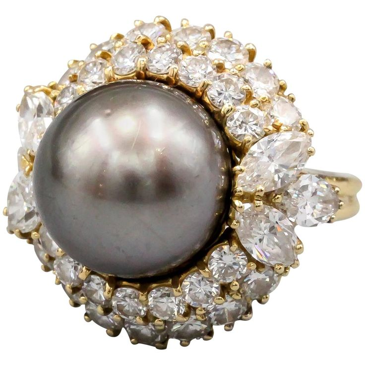 Harry Winston Cultured Pearl Diamond Gold Dome Ring | From a unique collection of vintage cocktail rings at https://www.1stdibs.com/jewelry/rings/cocktail-rings/