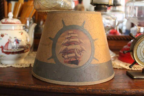 Vintage Nautical Shade Small Nautical Lampshade Ship Lamp Etsy Vintage Nautical Small Lamps Vintage
