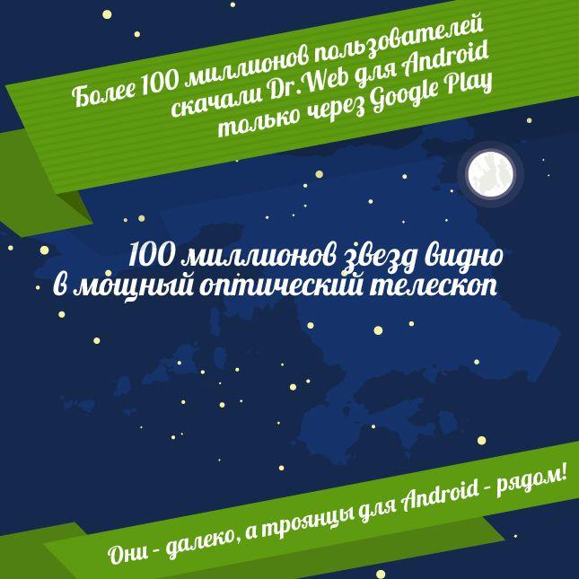 Антивирусы Dr.Web скачали более 100 миллионов пользователей! 100 миллионов звезд видно в мощный оптический телескоп. Они – далеко, а троянцы для Android – рядом!  Чтобы защитить свой Android, получите БЕСПЛАТНО полную версию на 3 месяца или купите лицензию на Dr.Web Security Space для Android на 2 года по цене 1 года. https://www.drweb.ru/100million  #Android #DrWeb