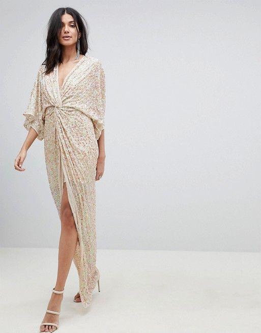 872ced05472e52 DESIGN TALL scatter sequin knot front kimono maxi dress ...