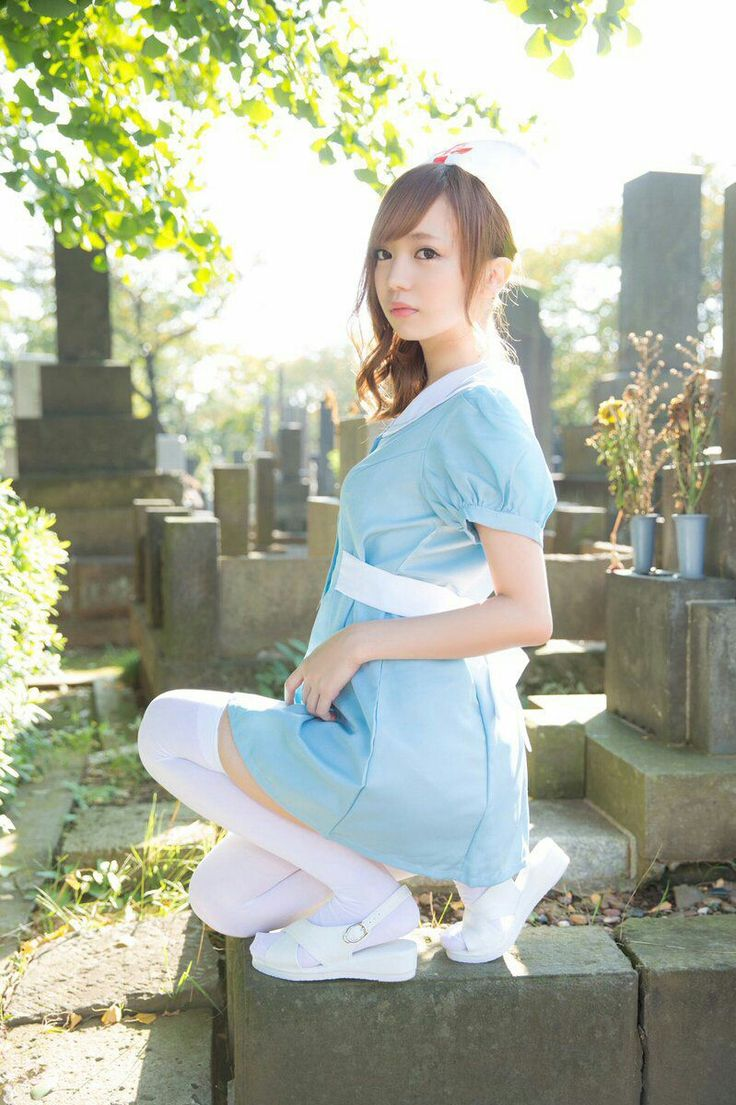 Nice nurse in blue dress in the cemetery #asiangirl