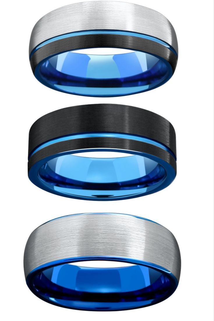 Mens Tungsten Wedding Rings Finished With A Blue High Polish Finish Black  And Silver