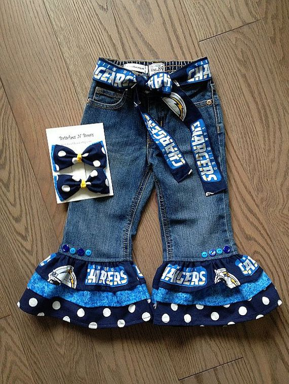 Andrea Stone San Go Chargers Football Ruffled Jeans Custom By Britchesnbows 35 00 Bolt Up Pinterest Charger And Fo