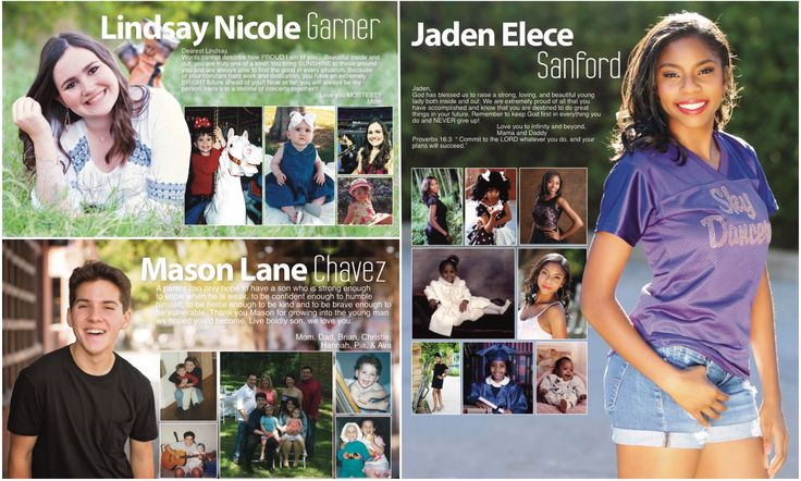 Gorgeous yearbook senior ads. Large dominant is background for the smaller photos. Timber Creek High School 2017. Fort Worth, Texas.