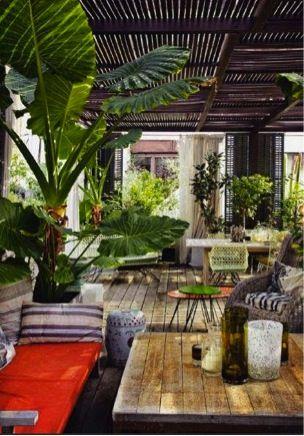 tropische tuin - kleurrijke veranda - woontrend 2014 - #tuin #veranda #tropisch #garden