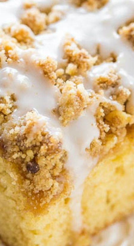 Buttery Crumb Coffee Cake ~ A soft, fluffy cake with cinnamon-brown sugar streusel CRUMBS and a perfectly sweet glaze... An easy coffee cake that's perfect for brunch, holidays, or anytime you're CRAVING cake!!