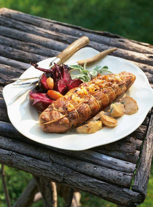 Filets de porc aux pommes, farcis aux oignons caramélisés Recettes | Ricardo