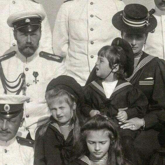"Tsar Nicholas ll of Russia and Empress Alexandra Feodorovna of Russia with the Grand Duchesses Tatiana and Anastasia Nikolaevna Romanova of Russia and Tsarevich Alexei Nikolaevich Romanov of Russia. ""AL"""