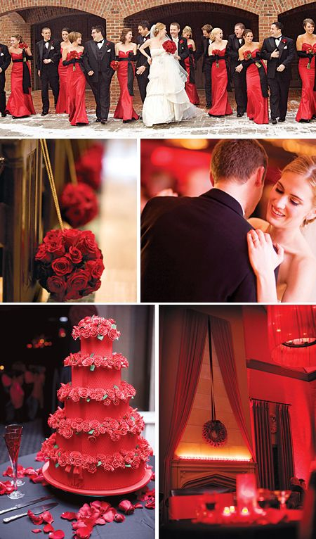red white and black wedding...maybe? ( dont like the cake on this...will prob stick with white on that ) bridesmaids where black dresses with red.??