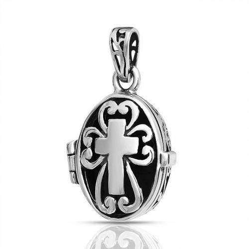 Gothic Cutout Prayer Box Poison Cross Locket Pendant Vintage 925 Silver