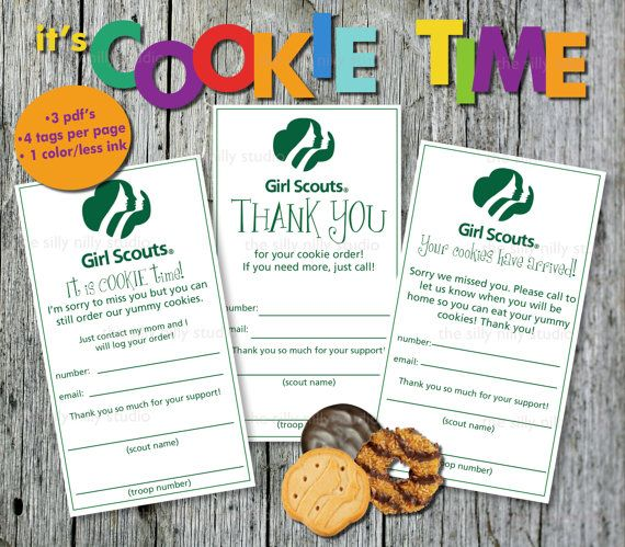 AUTOMATIC DOWNLOAD, Girl Scout Cookie door tags, sorry we missed you and thank you tags sold as a set of three individual PDF files on Etsy, $5.00