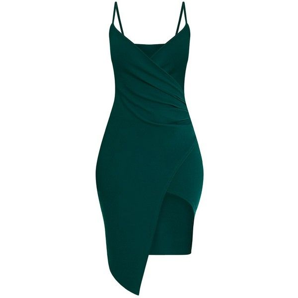 Lauriell Emerald Green Wrap Front Midi Dress ($39) ❤ liked on Polyvore featuring dresses, green crepe dress, emerald green dresses, mid calf dresses, green dress and calf length dresses