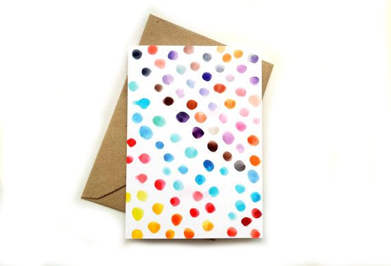 Watercolour dots greeting card by Emma Allard Smith