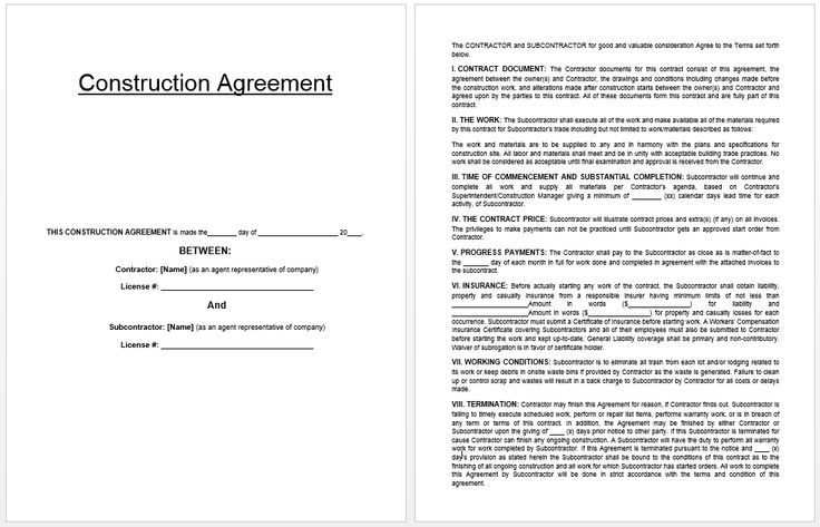 Construction Agreement Template Templates Pinterest - sample rent to own home contract