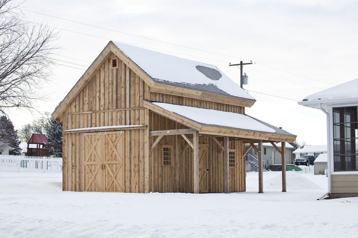 Garden Shed, craft barn, shop, the possibilities are endless for this cozy wood barn!  www.sandcreekpostandbeam.com  https://www.facebook.com/pages/Sand-Creek-Post-Beam-Traditional-Post-Beam-Barn-Kits/66631959179