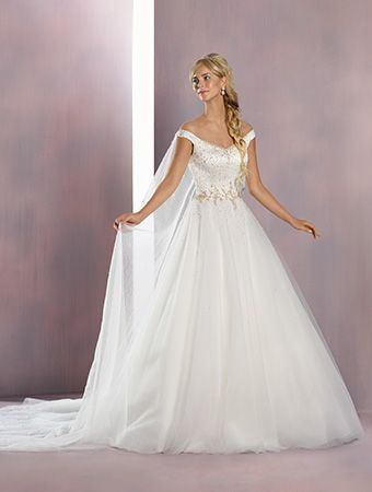 A princess wedding gown with v-neckline, tip-of-the-shoulder straps, ball gown skirt, and Watteau train.  Elsa