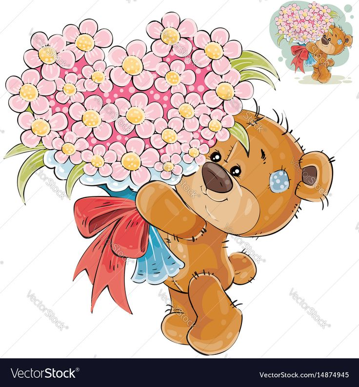 Vector illustration of a brown teddy bear holding in its paws a bouquet of flowers in the shape of a heart. Print, template, design element. Download a Free Preview or High Quality Adobe Illustrator Ai, EPS, PDF and High Resolution JPEG versions.