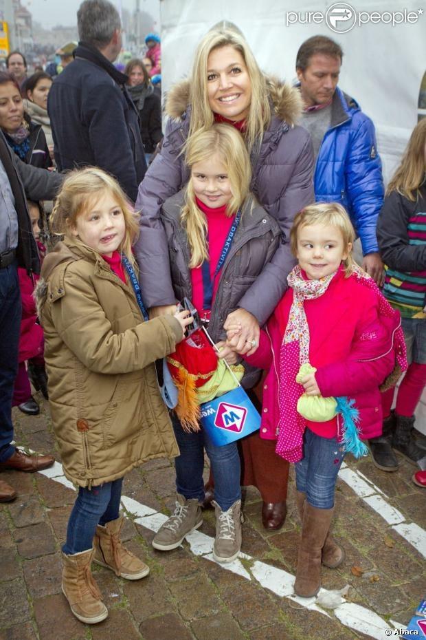 Princess Maxima with her daughters Princess Amalia, Princess Alexia and Princess Ariane welcomes Sinterklaas and his Zwarte Pieten in the harbor of Scheveningen, The Hague ,The Netherlands
