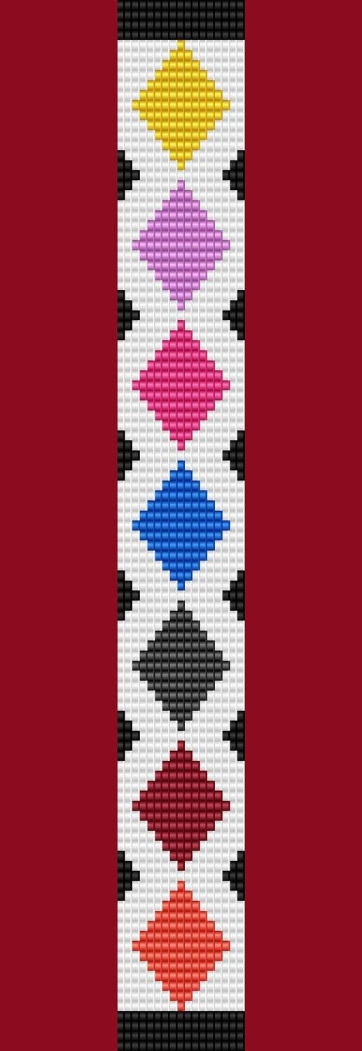 Argyle Diamond Bracelet Thin Bead Bracelet Pattern by TheBeadedCat