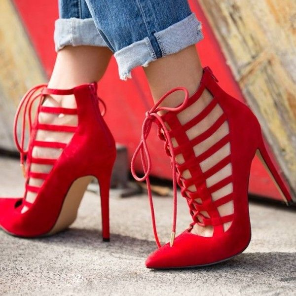 Women's Fall and Winter Fashion Ankle Booties Red Pointy Toe Stiletto Heels Strappy Heels Lace Up Pumps For Night Club Red Dress Classy Heels Winter Wedding Ideas Winter Outfits 2018 Street Style Outfits Valentines Day Outfit 2018, Music Festival, Date, Anniversary | FSJ