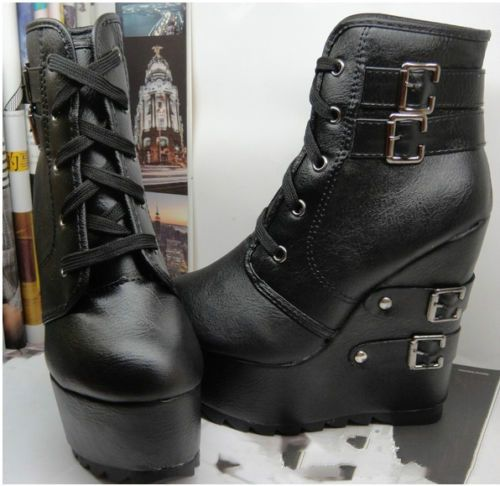 92f016dba0f6 Goth Women Lace Up Multi Buckle Wedge High Heels Super Platform Ankle Boots  Shoe