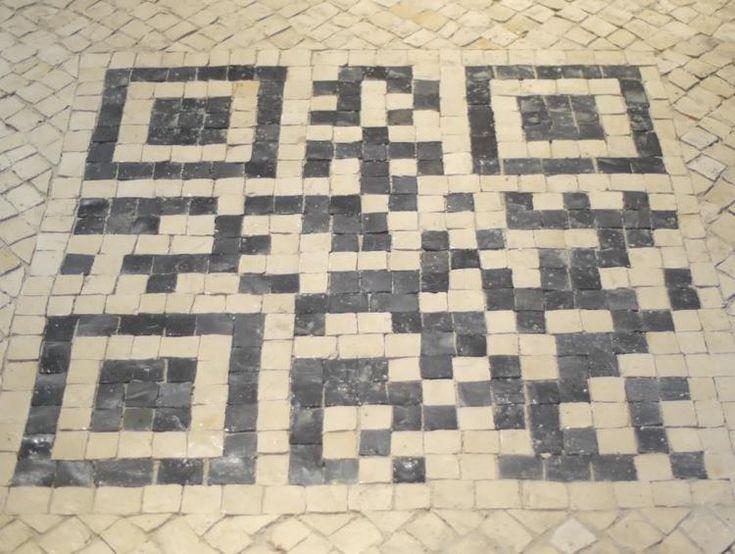 This QR Code made of cobblestones in Chiado provides tourist information on your smartphone! #QR: Crossword Puzzles, Qr Codes, De Lisboa, Portugu Cobblestone, Lisbon Portugal, Ems Calçada, Calçada Portuguesa, Codes Ems,  Crossword