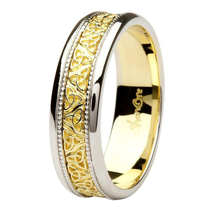 Scottish Wedding Rings: Celtic Trinity Knot Two Tone 14K Gold Gents Wedding Ring