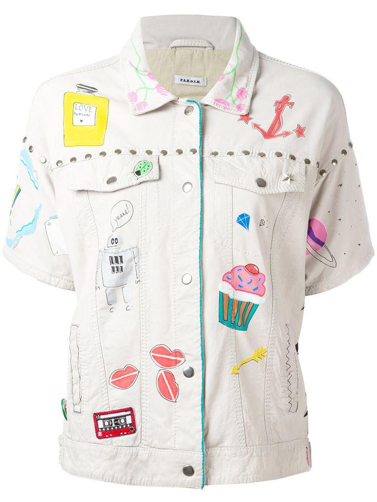 ¡Cómpralo ya!. P.A.R.O.S.H. - Embroidered Jacket - Women - Cotton/Calf Leather - M. Off white cotton and leather embroidered jacket from P.A.R.O.S.H.. Size: M. Color: Nude/neutrals. Gender: Female. Material: Cotton/Calf Leather. , chaquetadecuero, polipiel, biker, ante, antelina, chupa, decuero, leather, suede, suedette, fauxleather, chaquetadecuero, lederjacke, chaquetadecuero, vesteencuir, giaccaincuio, piel. Chaqueta de cuero  de mujer color beige de P.A.R.O.S.H..