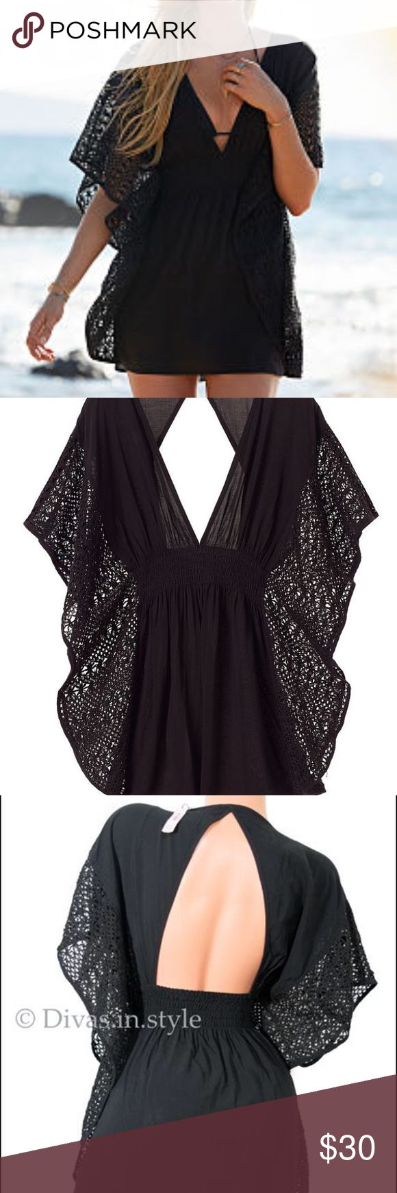 Victoria secret plunge caftan crochet swim cover Medium, worn once no flaws! Victoria's Secret Swim Coverups