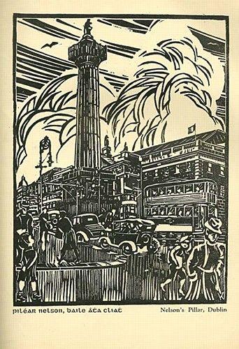 "Harry Kernoff RHA, ""Nelson's Pillar, GPO Dublin"" #art #woodcut #drawinganddesign #blackandwhite #Dublin #City #DukeStreetGallery"