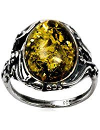 Sterling Silver Green Amber Oval Classic Ring * For more information, visit image link.