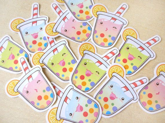 Cute Summer Tropical Tapioca Bubble Tea Sticker by BeagleCakesArt, $4.50