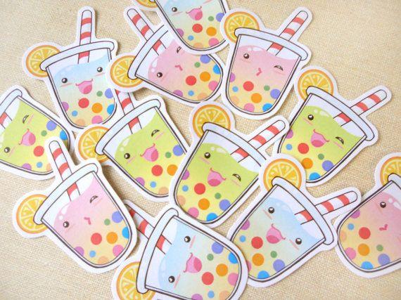 Cute Summer Tropical Tapioca Bubble Tea Sticker by BeagleCakesArt, $4.50