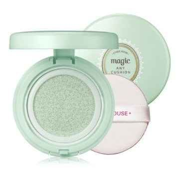 Etude House Precious Mineral Magic Cushion in Mint is a primer base (used before foundation or BB cream) that helps diminish the appearance of redness and blotchiness, lock in hydration, and protect the skin with SPF34/PA+++.