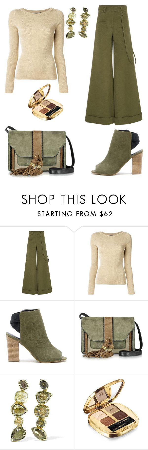 """""""Khaki casual"""" by juliet-elizabeth-george on Polyvore featuring Rosie Assoulin, Dolce&Gabbana, Sole Society, L'Autre Chose, Kimberly McDonald, dolcegabana and PVHint"""