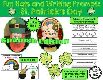 Need something fun and easy to prep for St. Patrick's Day in Spanish? My kids love making these St. Patrick's Day hats with beards. They make the best pictures for memory books! This St. Patrick's Day Pack includes: *St. Patrick's Day hat with beard (all the pieces shown with directions in B&W and color) *Rainbow headband: You are the pot (treasure) at the end of my rainbow! (B&W and color) in Spanish *6 extender
