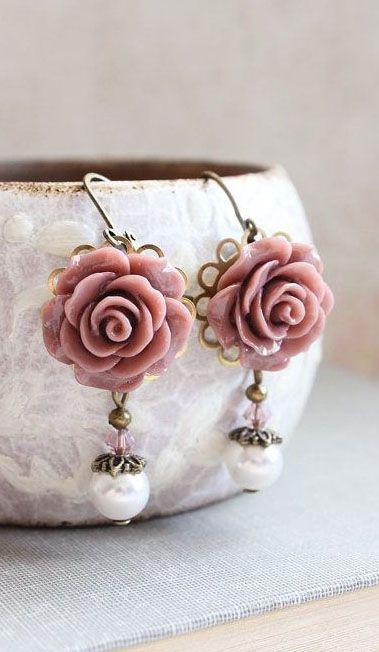 Rose Earrings Dusty Rose Pink Pearl Drop Floral Dangle Leverback Earrings Vintage Style Wedding Romantic Bridal Jewellery Bridesmaids Gift