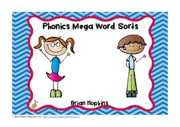 Product updated on 8/8/14 to include a new cover and prefix and suffix word sorts!!!  This phonics word sort mega packet includes 46 different word sorts!  I have them in the packet according to difficulty level starting with CVC words and going all the way through soft and hard g and c.