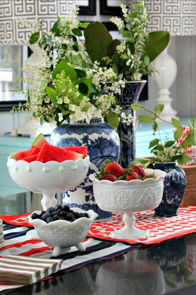 love the white milk glass incorporated to decorate for the 4th! pulling in red…