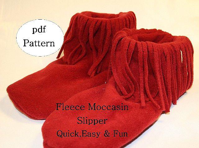 Free Fleece Slipper Pattern | Fleece Moccasin Slippers ...
