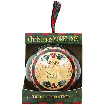 Personalised Money Box Bauble - Sam | Money Boxes at The Works