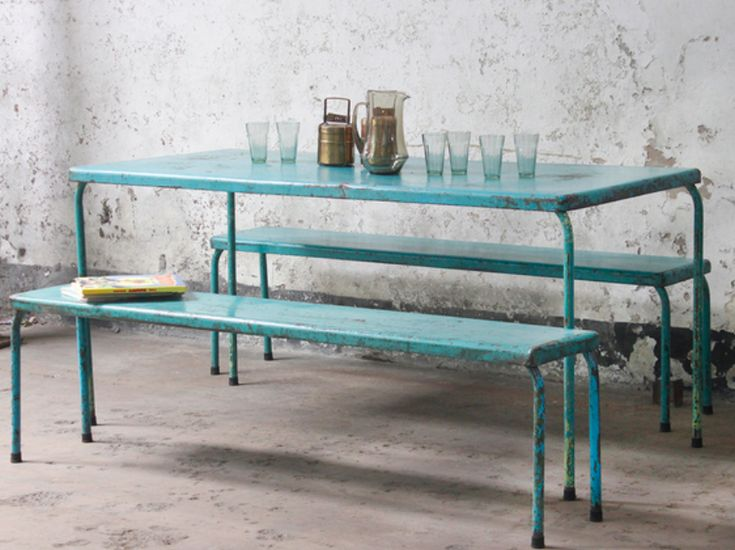 Scaramanga is very pleased to offer this gorgeous vintage metal table and twin metal bench set as a single package. Imagine this colourful set in your summer garden or perhaps as an innovative contemporary dining table with seating. #vintage #homedecor #kitchendecor #diningtable #furnituresale