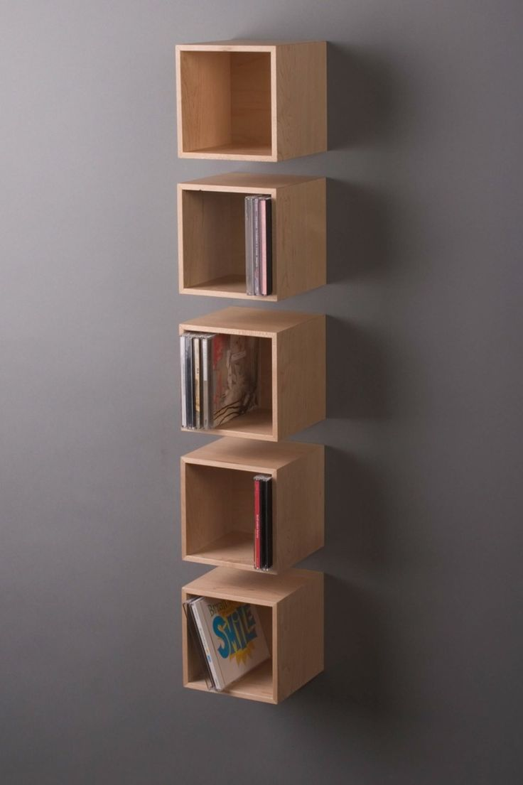 "4"" and 5"" wall-hung storage cubes."