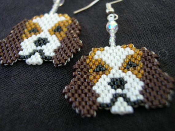 Cutest Little Beagle Puppy Dog Seed Beaded Dangle by fantasybeader, $20.00