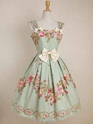 Gorgeous vintage rose dress would be pretty with dainty cardigan.