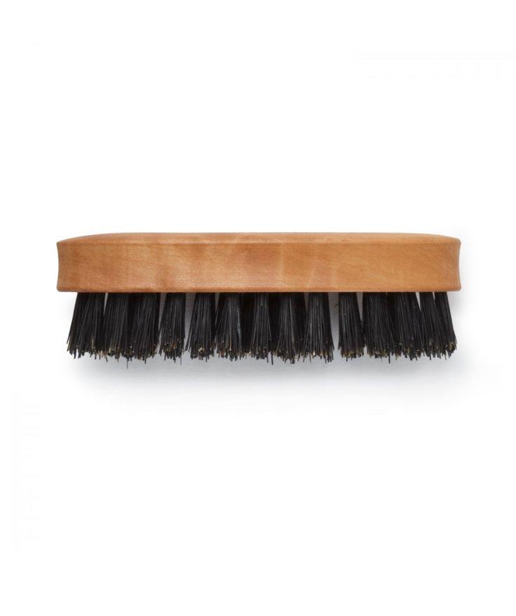 Five rows of stiff black bristles line this handmade, oiled pearwood beard brush. Use to tame wayward whiskers and keep your beard looking sharp. | huntingforgeorge.com