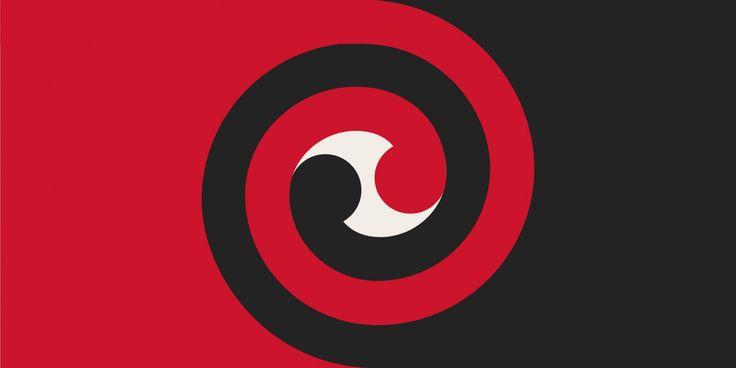 Koru Spiral by Gareth O'Brien from International, tagged with: Black, Red, White, Koru, Māori culture.