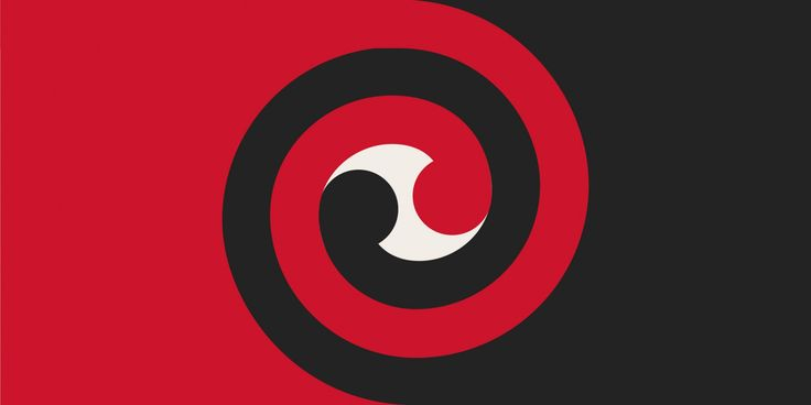 Koru Spiral by Gareth O'Brien from International, tagged with: Black, Red, White, Koru, Māori culture.